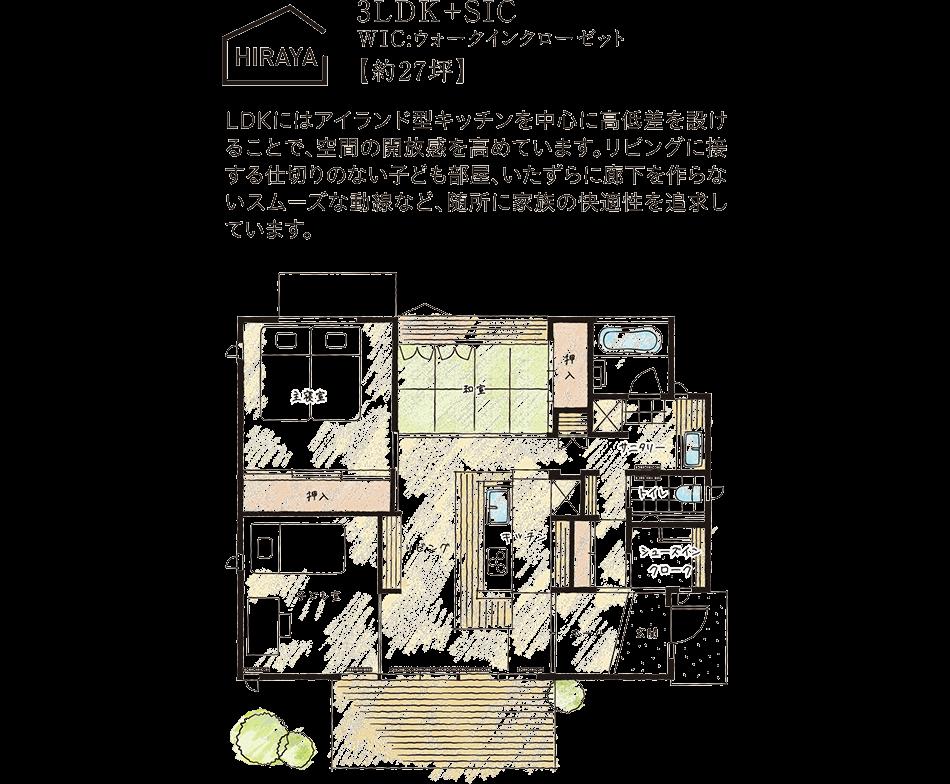 HIRAYA/3LDK+SIC、WIC:ウォークインクローゼット【約27坪】