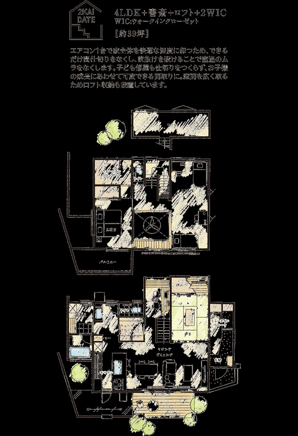 2KAIDATE/4LDK+書斎+ロフト+2WIC、WIC:ウォークインクローゼット【約39坪】