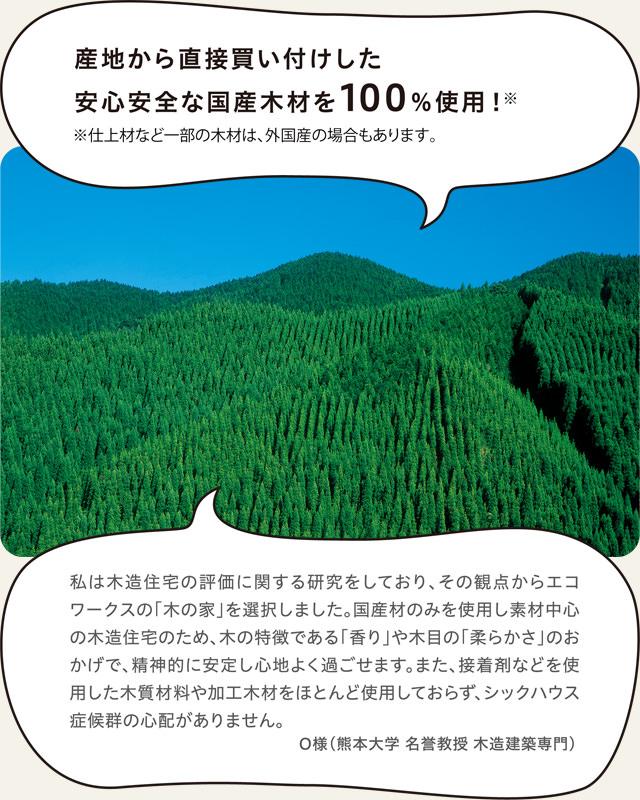 産地から直接買い付けした安心安全な国産木材を100%使用!※仕上材など一部の木材は、外国産の場合もあります。_sp