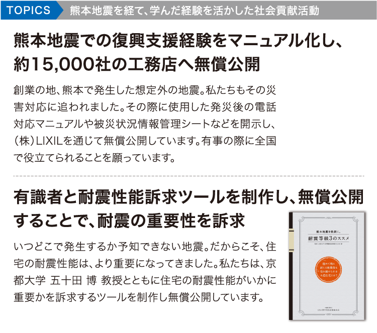 TOPICS熊本地震を経て、学んだ経験を活かした社会貢献活動