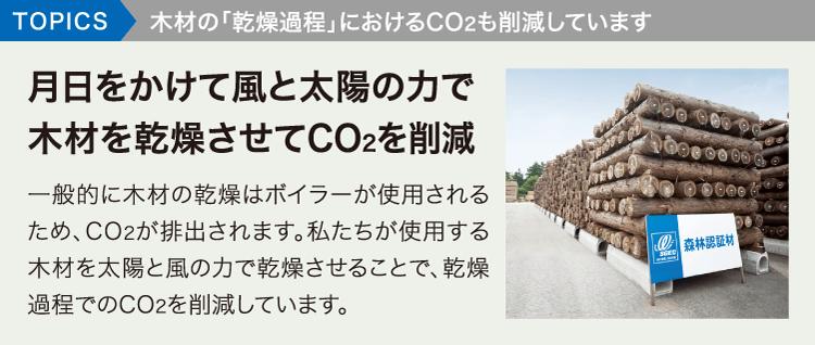 TOPICS木材の「乾燥過程」におけるCO2も削減しています