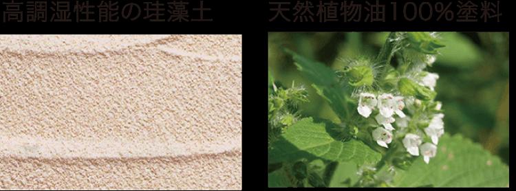 高調湿性能の珪藻土、天然植物油100%塗料