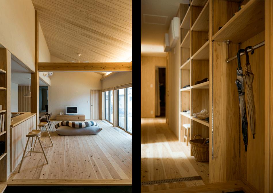 木の家|熊本の新築建築事例|平屋|3LDK|リビング|玄関|エコワークス|CASE-14|内観02
