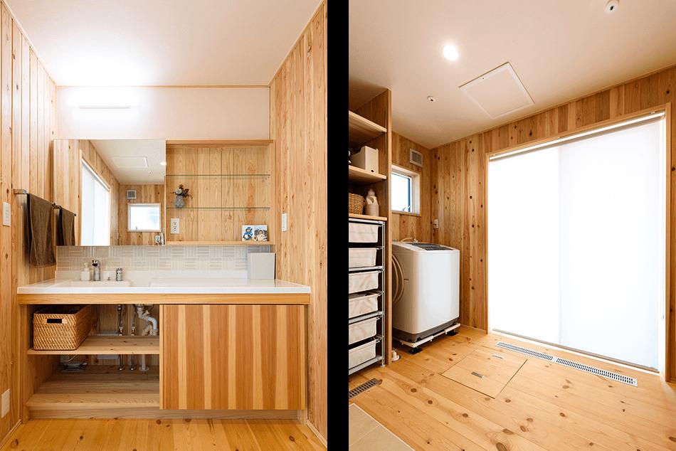 木の家|熊本の新築建築事例|2階建|4LDK|洗面所|家事室|エコワークス|CASE-13|内観08