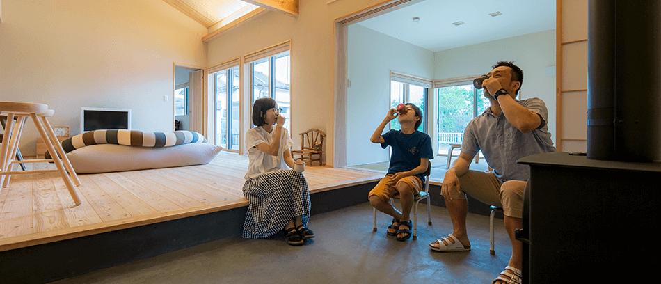 木の家|熊本の新築建築事例|平屋|3LDK|土間|エコワークス|CASE-14|内観