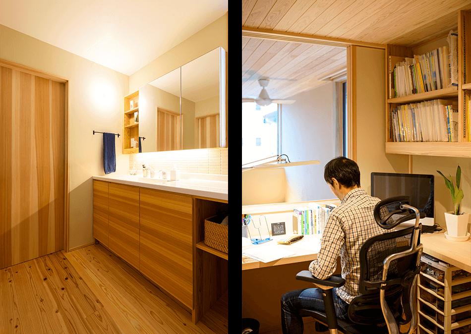 木の家|福岡の新築建築事例|2階建|4LDK|洗面台|書斎|エコワークス|CASE-16|内観05