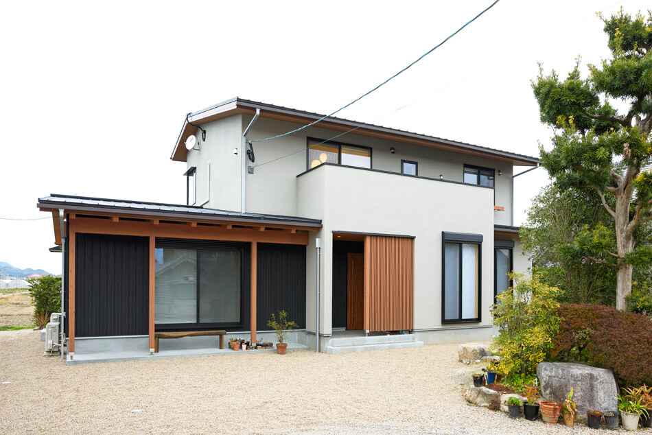 木の家|熊本の新築建築事例|平屋|7LDK|外観|エコワークス|CASE-17|外観01