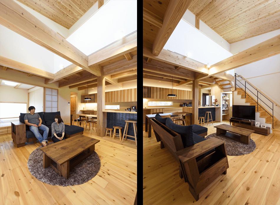 木の家|熊本の新築建築事例|2階建|4LDK|リビング|エコワークス|CASE-19|内観10