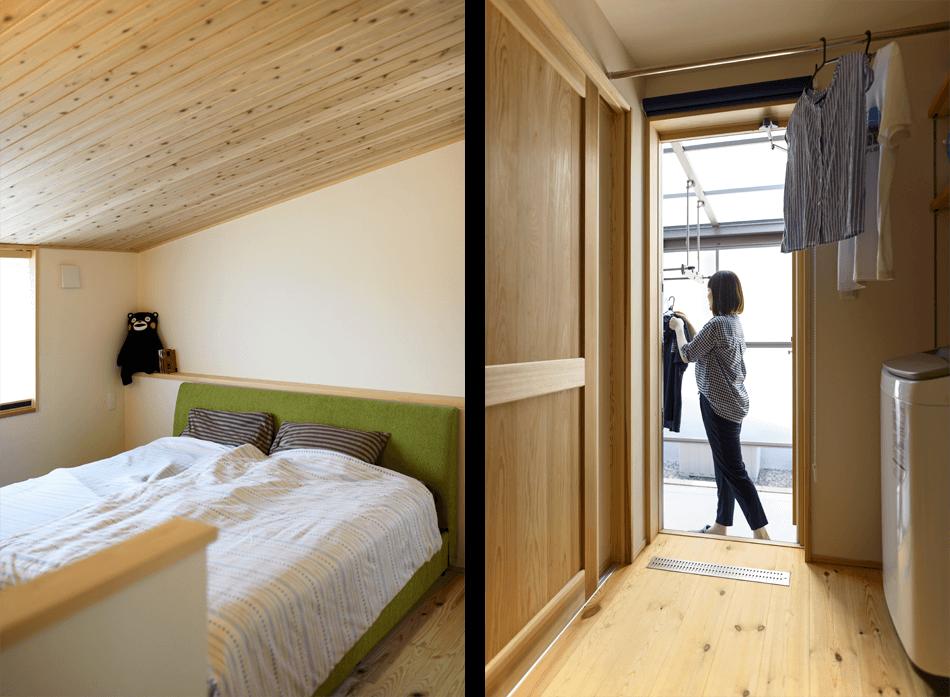 木の家|熊本の新築建築事例|2階建|4LDK|寝室|家事スペース|エコワークス|CASE-19|内観11