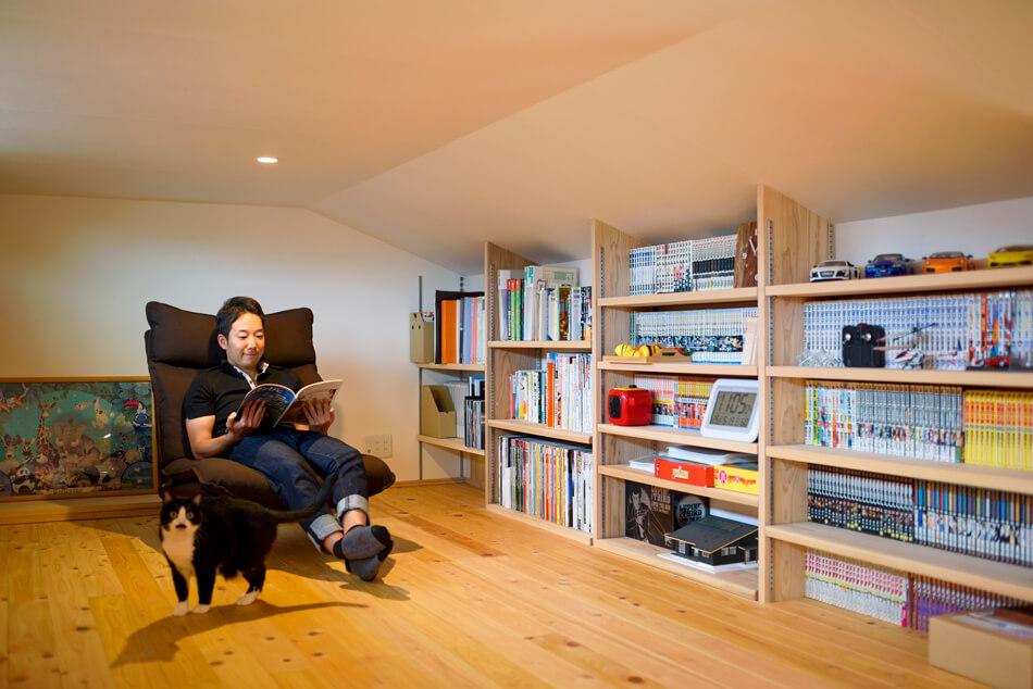 木の家|福岡の新築建築事例|平屋|3LDK+ロフト|書斎|エコワークス|CASE-20|内観05
