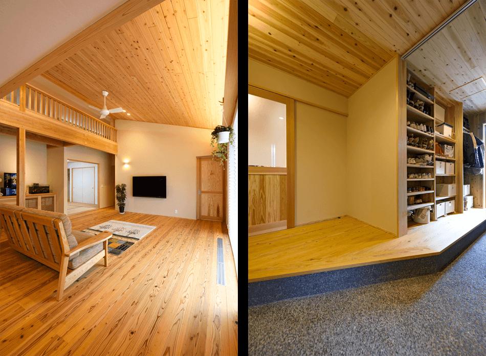木の家|福岡の新築建築事例|平屋|3LDK+ロフト|リビング|玄関|エコワークス|CASE-20|内観09