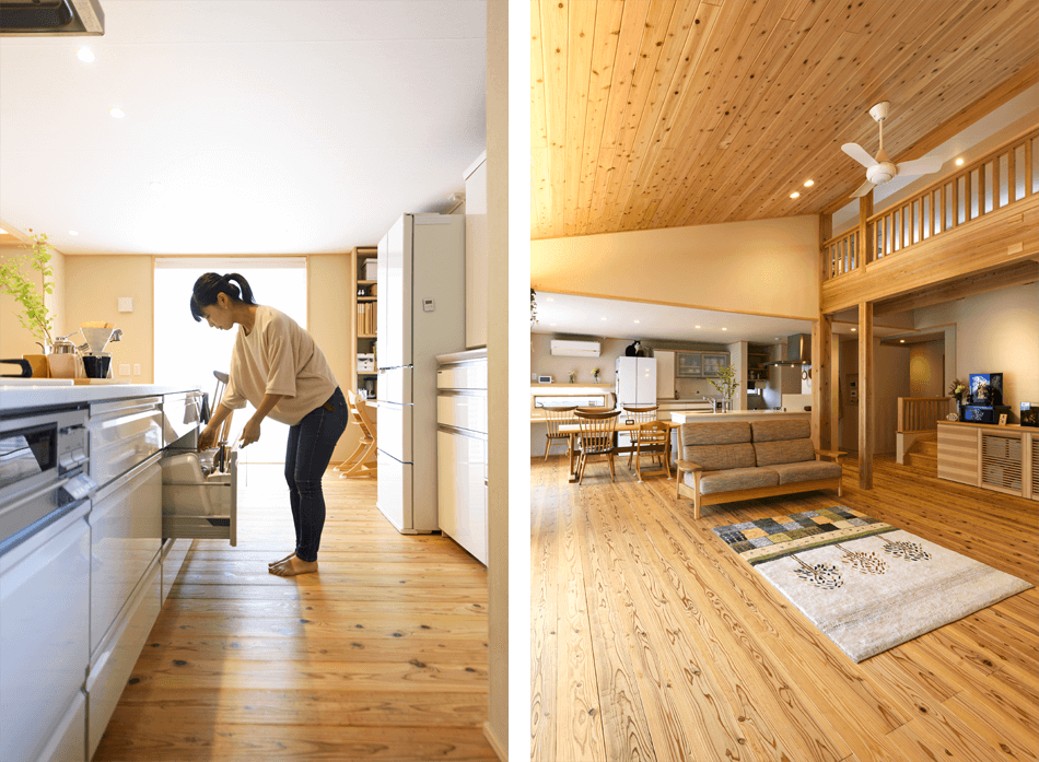 木の家|福岡の新築建築事例|平屋|3LDK+ロフト|キッチン|リビング|エコワークス|CASE-20|内観10