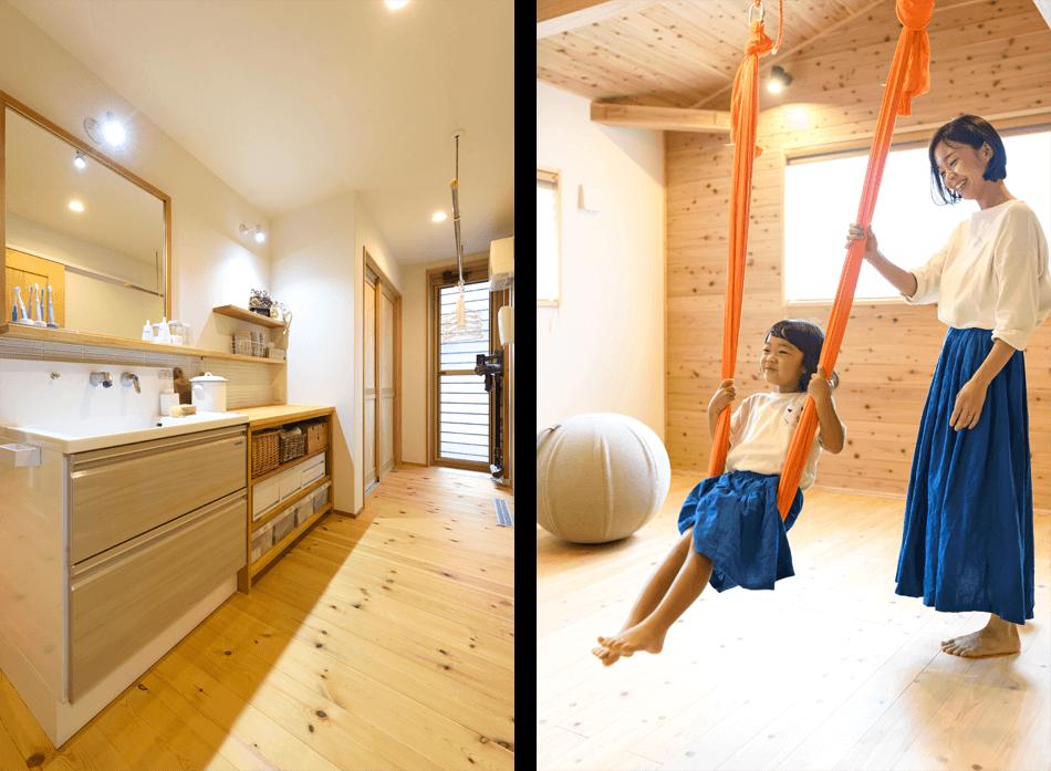 木の家|福岡の新築建築事例|2階建|2LDK|洗面台|フリースペース|エコワークス|CASE-21|内観06