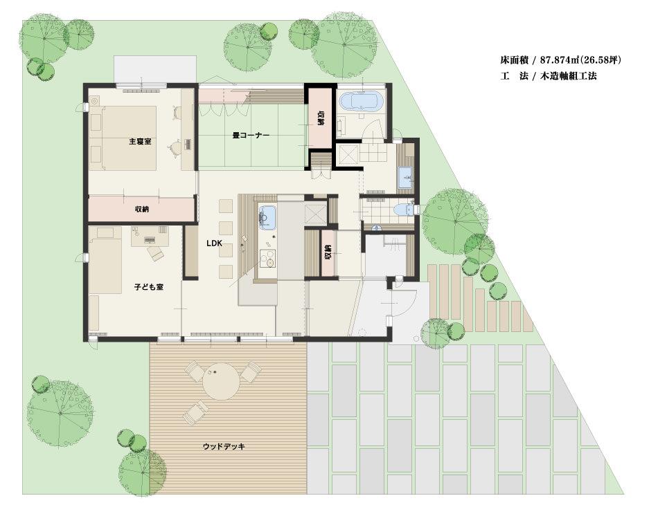 春日「平屋」モデルハウス -見取り図