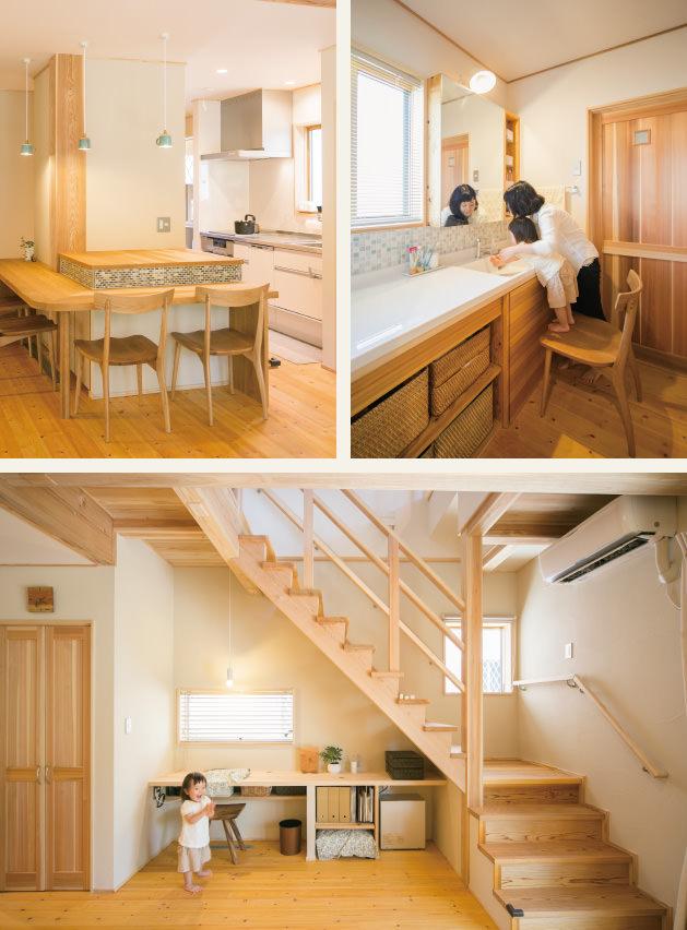 木の家|福岡の新築建築事例|2階建|4LDK|キッチン|洗面台|フリースペース|エコワークス|CASE-01|内観02