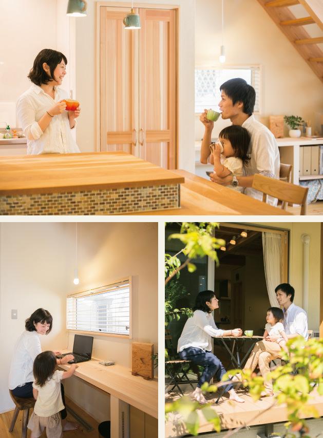 木の家|福岡の新築建築事例|2階建|4LDK|カウンターキッチン|フリースペース|ウッドデッキ|エコワークス|CASE-01|内観01