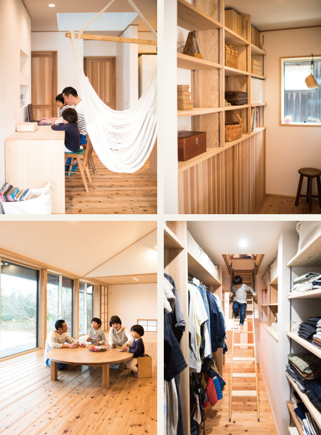 木の家|福岡の新築建築事例|平屋|3LDK|フリースペース|棚|リビング|収納|エコワークス|CASE-02|内観03