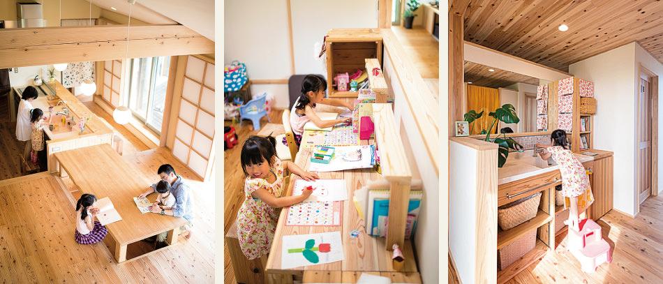 木の家|福岡の新築建築事例|平屋|3LDK|リビング|スタディスペース|洗面台|エコワークス|CASE-03|画像名内観03
