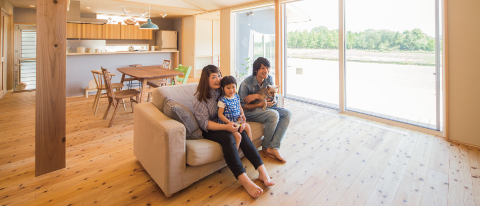 木の家|福岡の新築建築事例|平屋|4LDK|リビング|エコワークス|CASE-04|内観03