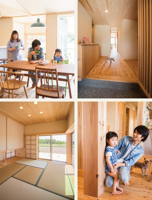 木の家|福岡の新築建築事例|平屋|4LDK|リビング|玄関|和室|柱|エコワークス|CASE-04|内観02