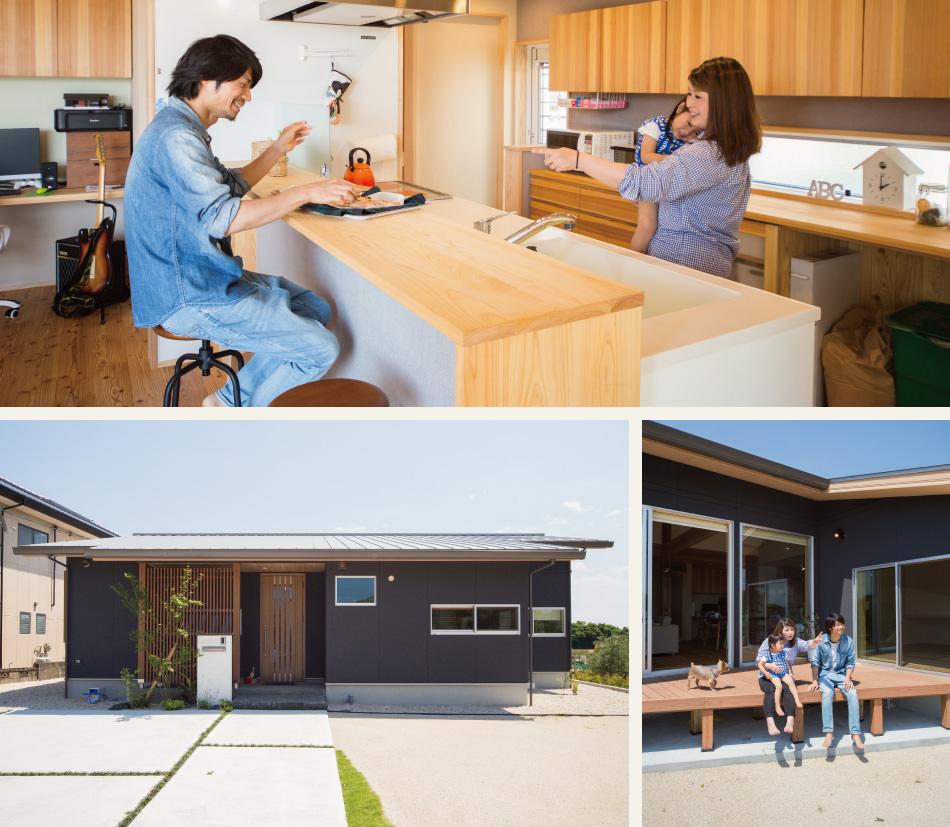 木の家|福岡の新築建築事例|平屋|4LDK|キッチン|外観|ウッドデッキ|エコワークス|CASE-04|内観01