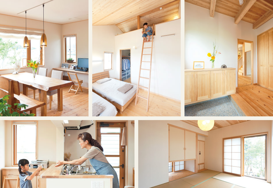 木の家|福岡の新築建築事例|2階建|4LDK|リビング|寝室|玄関|キッチン|和室|エコワークス|CASE-05|内観01