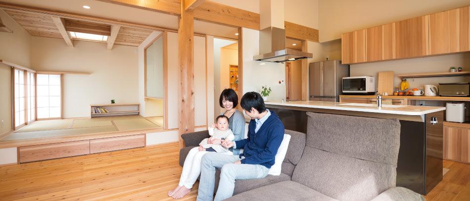 木の家 福岡の新築建築事例 平屋 4LDK リビング エコワークス CASE-06 内観04