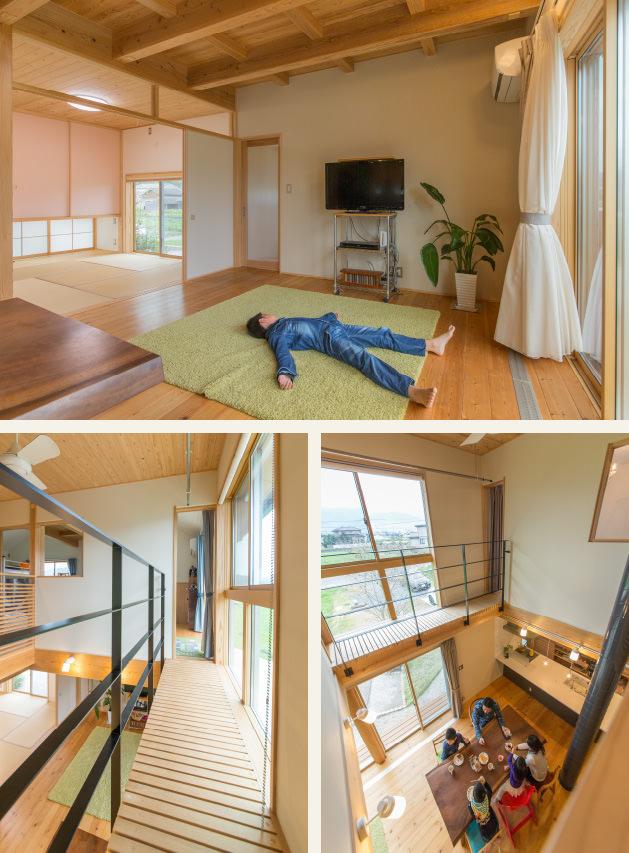 木の家|福岡の新築建築事例|2階建|5LDK|リビング|廊下|吹抜け|エコワークス|CASE-07|内観02