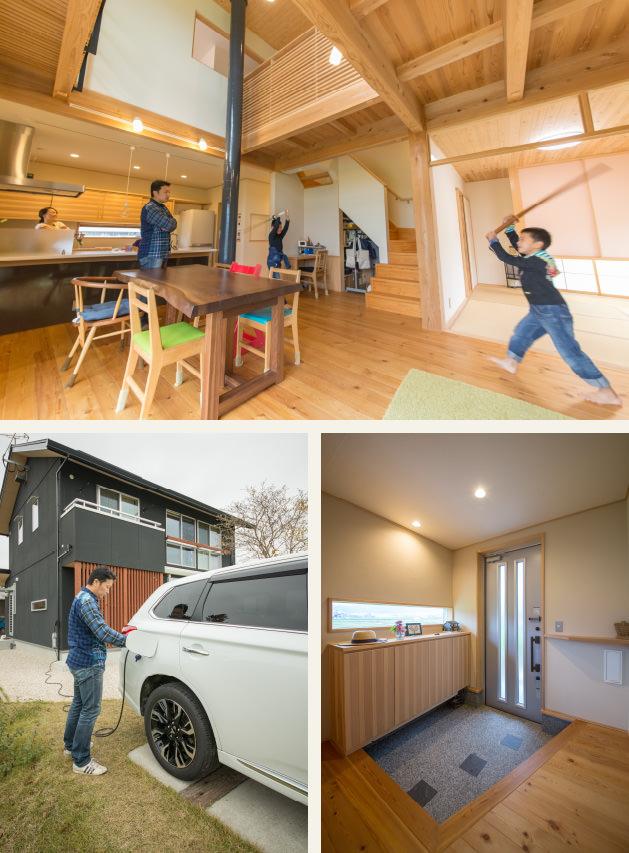 木の家|福岡の新築建築事例|2階建|5LDK|リビング|外観|玄関|エコワークス|CASE-07|内観01