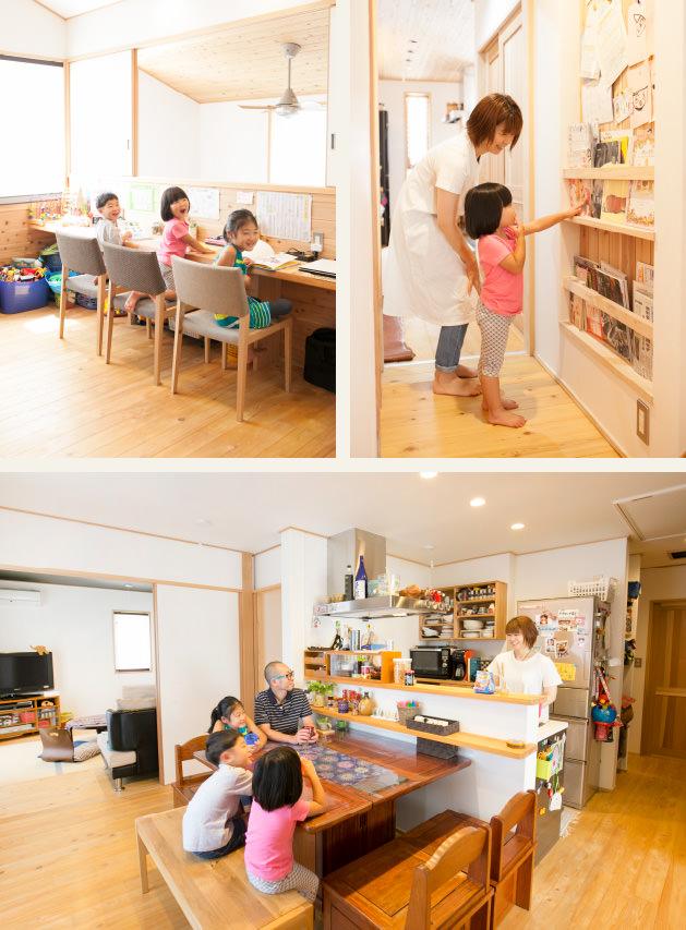 木の家|福岡の新築建築事例|2階建|1F:2LDK|2F:3LDK|スタディスペース|壁面収納|リビング|エコワークス|CASE-08|内観02