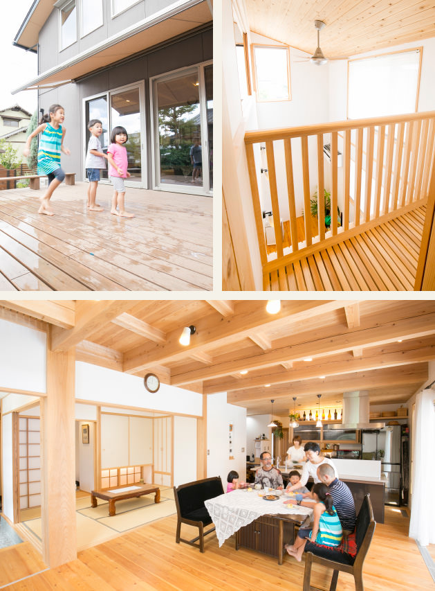 木の家|福岡の新築建築事例|2階建|1F:2LDK|2F:3LDK|ウッドデッキ|吹抜け|リビング|エコワークス|CASE-08|内観01