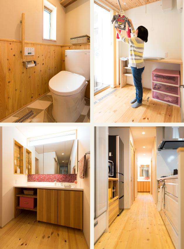 木の家|福岡の新築建築事例|平屋|2LDK|トイレ|家事室|洗面台|キッチン|エコワークス|CASE-10|内観02