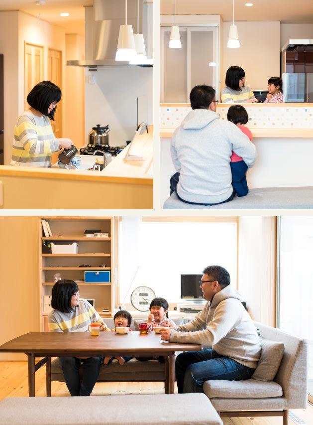 木の家|福岡の新築建築事例|平屋|2LDK|キッチン|リビング|エコワークス|CASE-10|内観01