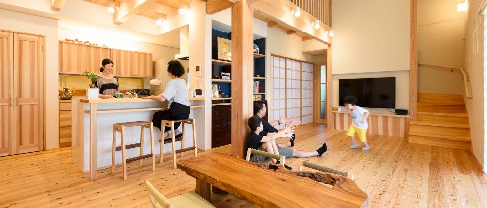 木の家|福岡の新築建築事例|2階建|5LDK|リビング|エコワークス|CASE-11|内観03