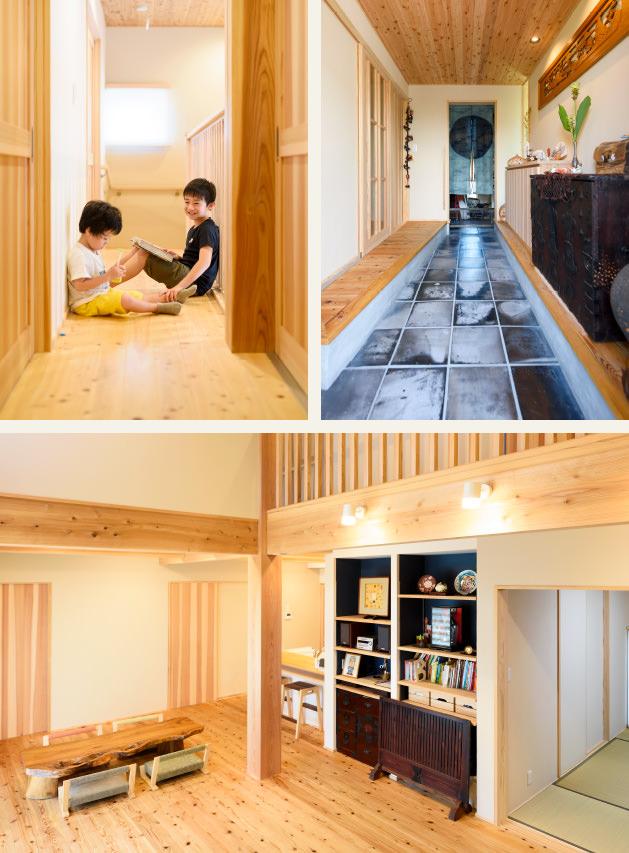 木の家|福岡の新築建築事例|2階建|5LDK|廊下|玄関|リビング|エコワークス|CASE-11|内観02