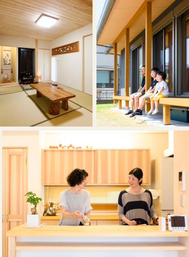 木の家|福岡の新築建築事例|2階建|5LDK|和室|ウッドデッキ|キッチン|エコワークス|CASE-11|内観01