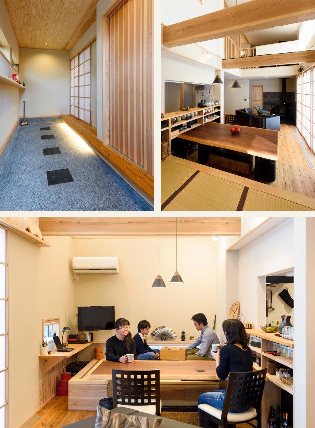 木の家 福岡の新築建築事例 2階建 3LDK 玄関 リビング エコワークス CASE-12 内観02