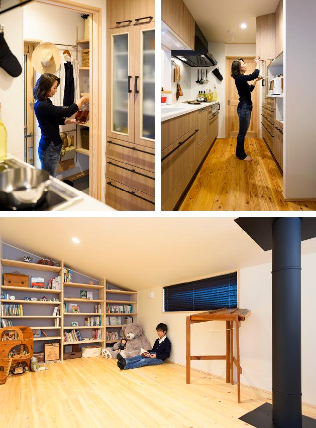 木の家|福岡の新築建築事例|2階建|3LDK|キッチン|フリースペース|エコワークス|CASE-12|内観01