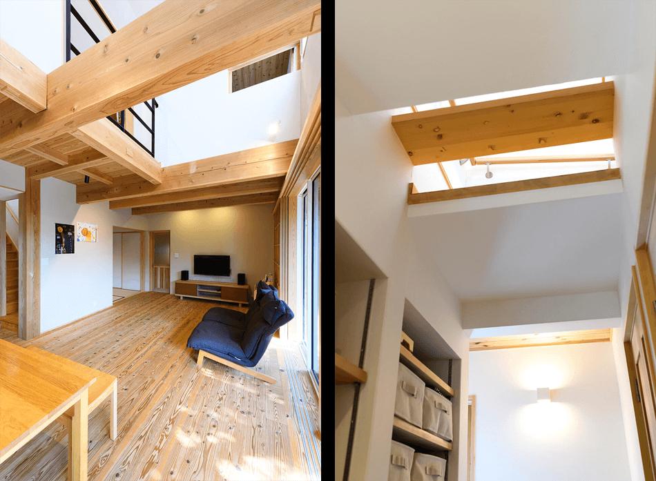 木の家|福岡の新築建築事例|2階建|4LDK|リビング|吹抜け|エコワークス|CASE-22|内観10b