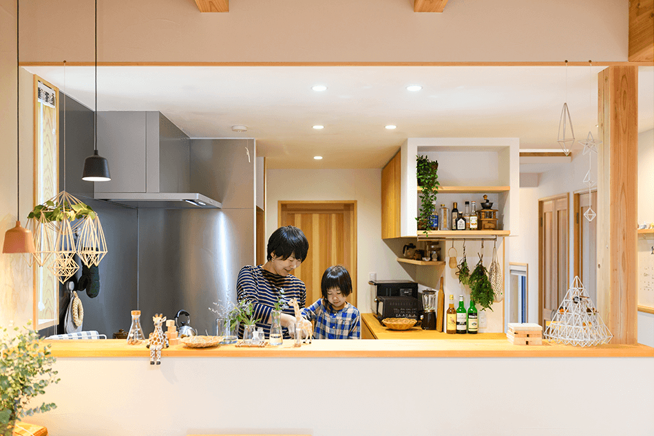 木の家|福岡の新築建築事例|2階建|4LDK|キッチン|エコワークス|CASE-22|キッチン11