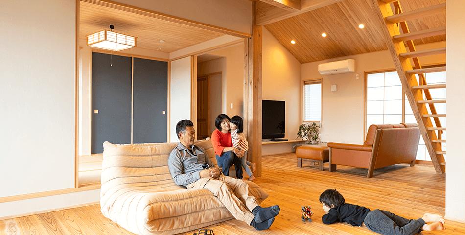 木の家|福岡の新築建築事例|平屋|3LDK|リビング|エコワークス|CASE-23|内観01