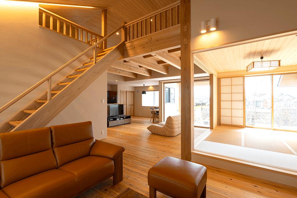 木の家|福岡の新築建築事例|平屋|3LDK|リビング|ロフト|エコワークス|CASE-23|内観07