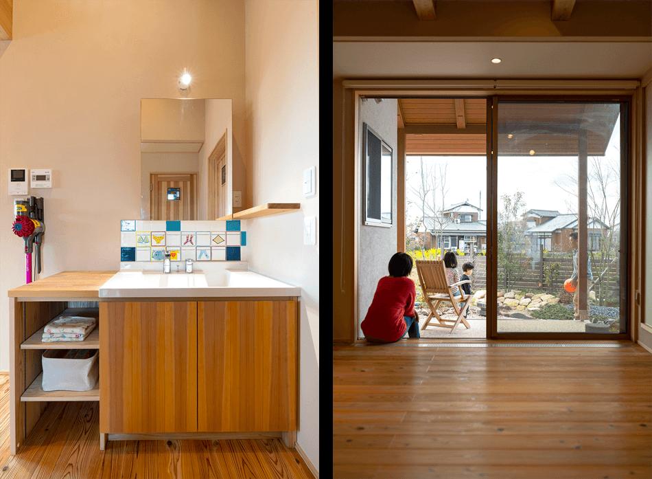 木の家|福岡の新築建築事例|平屋|3LDK|窓|洗面化粧台|オリジナル|エコワークス|CASE-23|内観10