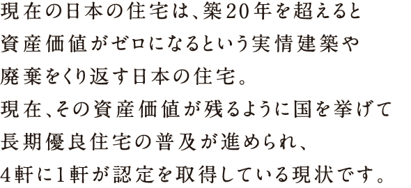 現在の日本の住宅は、築20年を越えると資産価値がゼロになるという実情 建築や廃棄を繰り返す日本の住宅。現在、その資産価値が残るように国をあげて長期優良住宅の普及が勧められ、4軒に1軒が認定を取得している現状です。