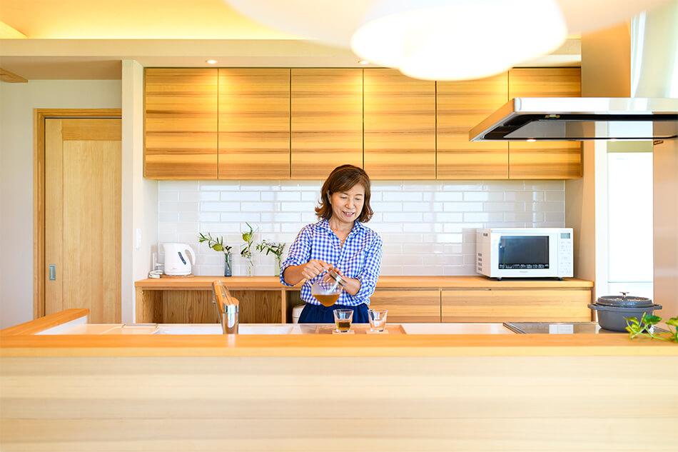 木の家|福岡の新築建築事例|平屋|3LDK|エコワークス|CASE-25|キッチン