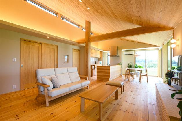木の家 福岡の新築建築事例 平屋 3LDK エコワークス CASE-25 リビング