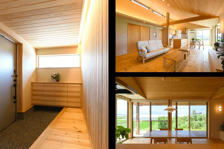 木の家|福岡の新築建築事例|平屋|3LDK|エコワークス|CASE-25|玄関|リビング