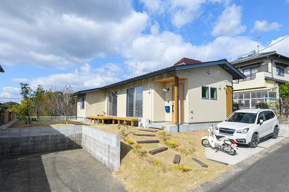 木の家|福岡の新築建築事例|平屋|2LDK|エコワークス|CASE-26|外観