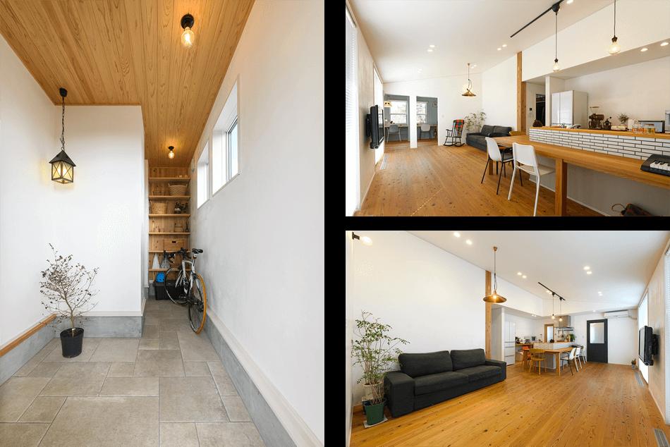 木の家|福岡の新築建築事例|平屋|2LDK|エコワークス|CASE-26|玄関|リビングキッチン