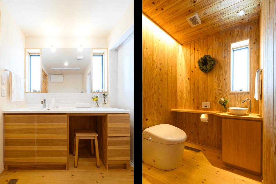 木の家|福岡の新築建築事例|平屋|3LDK|エコワークス|CASE-25|浴室|トイレ